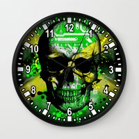 jamaica Wall Clocks featuring Jamaica circuit Skull. by seb mcnulty