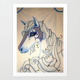 White Winter Fantasy Holly Horse Art Print
