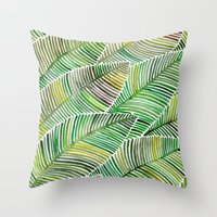 tropical Throw Pillows featuring Tropical Green by Cat Coquillette