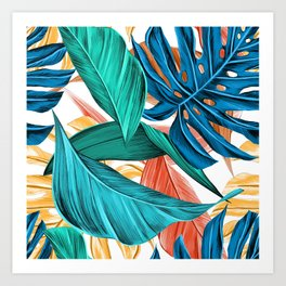 Colorful Tropical Jungle Leaves Art Print