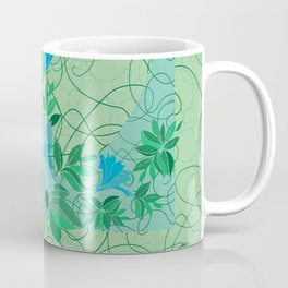 Frame from abstract blue flowers with background Coffee Mug