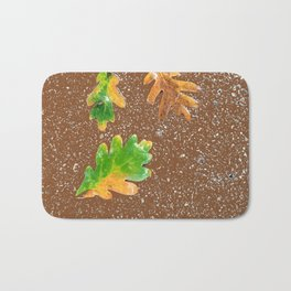 Rainy Leaves on Chocolate brown Terrazzo background Bath Mat
