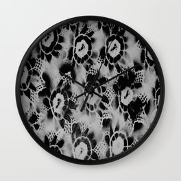 Black n White Flowers Wall Clock
