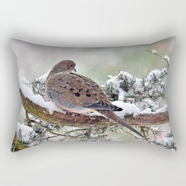 Peaceful Winter Dove Rectangular Pillow