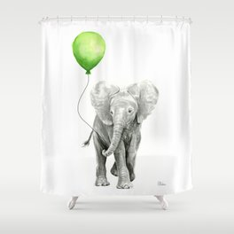 Baby Elephant with Green Balloon Shower Curtain