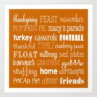 thanksgiving Art Prints featuring Thanksgiving Celebration by Tiffany Dawn Smith