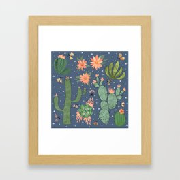 Succulents in Blue Framed Art Print