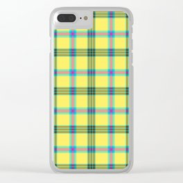 lemon love plaid with a dash of pink and blue Clear iPhone Case