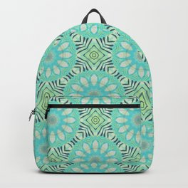 Cream And Turquoise Flowers Backpack