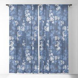 Sakura blossom in deep blue Sheer Curtain