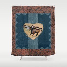 Horse and Western Theme Shower Curtain