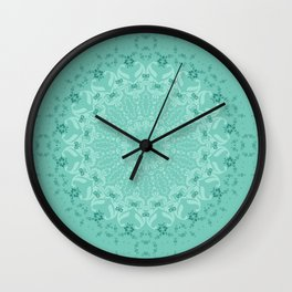 Round ornament turquoise color . mandala Wall Clock