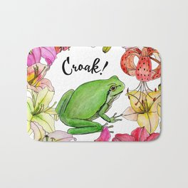 watercolor frog with lilies Bath Mat
