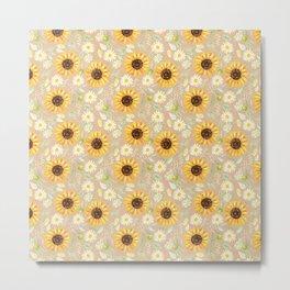Sunflowers | Watercolor | Pattern  Metal Print