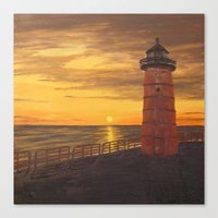 milwaukee Canvas Prints featuring Milwaukee Lighthouse by Hatton Custom Design