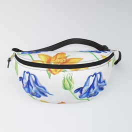 Columbine and Lily Hand Painted Floral Pattern Fanny Pack