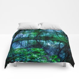 Enchanted Forest Lake Green Blue Comforters