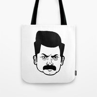 ron swanson Tote Bags featuring Ron Swanson by bookotter