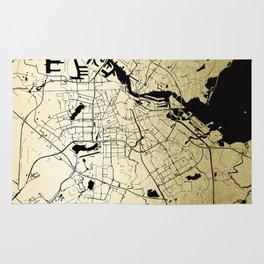 Amsterdam Gold on Black Street Map Rug