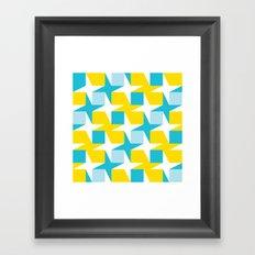 Orange & turquoise blue stars & squares geometric pattern Framed Art Print