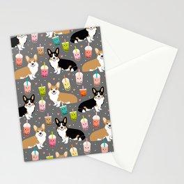 Corgi boba tea bubble tea kawaii food welsh corgis dog breed gifts Stationery Cards