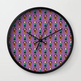 Kokeshi  pattern Wall Clock
