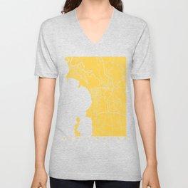 Burlington map yellow Unisex V-Neck