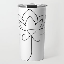 Rose Flower Line Art, Single Line Flower Drawing Travel Mug