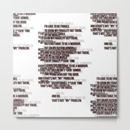 warrior text red pat.  Metal Print