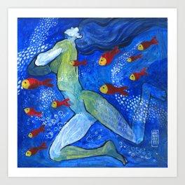 Sirene e pesci rossi Art Print