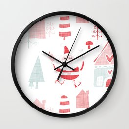 Santa is in Town White #Holiday #Christmas Wall Clock