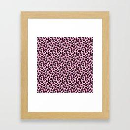 Cotton Candy Pink and Black Leopard Spots Animal Print Pattern Framed Art Print