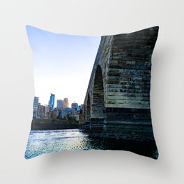 Minneapolis Skyline Sunset and Colorful Mississippi River Throw Pillow