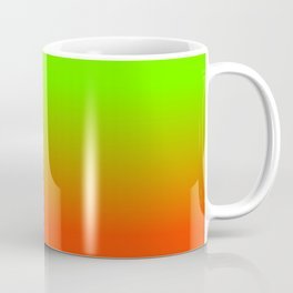 Neon Green and Neon Orange Ombré  Shade Color Fade Coffee Mug