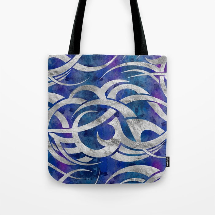 Abstract Maori Curve Shapes Silver Purple Tote Bag By K9printart