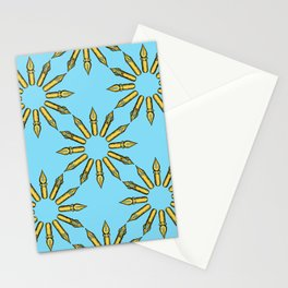 Dip Pen Nibs Circle (Blue and Yellow) Stationery Cards