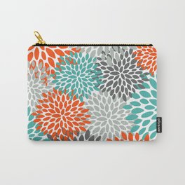 Floral Pattern, Abstract, Orange, Teal and Gray Carry-All Pouch