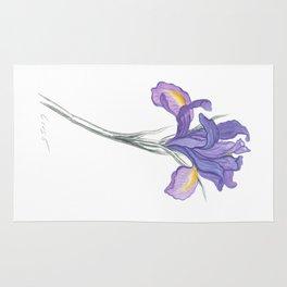 Iris 03 Botanical Flower * Lavender Purple Dutch Iris Rug