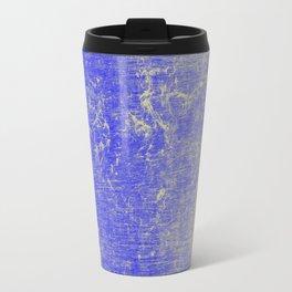 Vibrant Sky Blue & Gold Distressed Texture Travel Mug