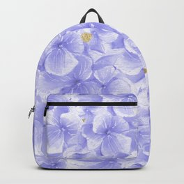 Elegant lavender white faux gold watercolor hydrangea flowers Backpack