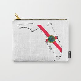 Florida Map with Floridian Flag Carry-All Pouch