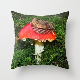 Fly agaric in the moss Throw Pillow