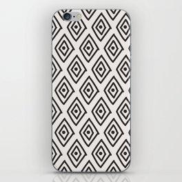 Hand painted black white geometrical diamond polka dots iPhone Skin