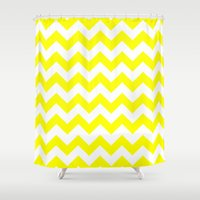 chevron Shower Curtains featuring Chevron (Yellow/White) by 10813 Apparel