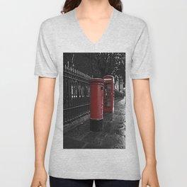 London Phone Box And Royal Mail Postal Box Unisex V-Neck