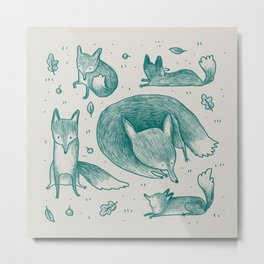 Fox Pattern Metal Print
