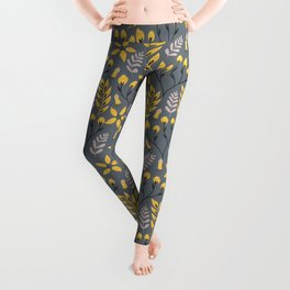 Mod Floral Yellow on Gray Leggings