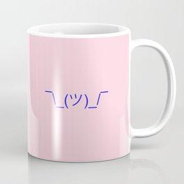 Hands Up Emoji Shrug - Pink and Blue Coffee Mug