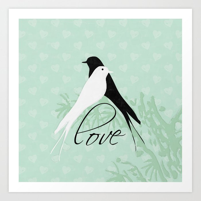 Black And White Love Birds Print Art Print By Beescustomtees Society6