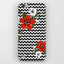 Floral on Black and White Background iPhone Skin